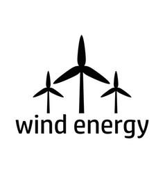wind energy black icon vector image vector image