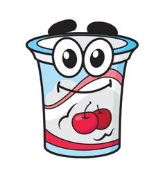 Cherry yoghurt milk or cream cartoon character vector image vector image