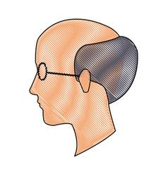 Drawing head profile man adult bald glasses vector