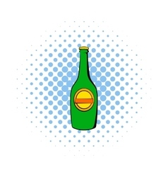 Green bottle of beer icon comics style vector image vector image