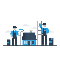 House painting workers refresh exterior vector image vector image