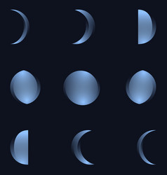 phases of the moon the whole cycle from new moon vector image vector image