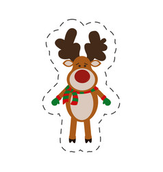 reindeer christmas decorative cut line vector image