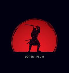 Samurai warrior with sword vector