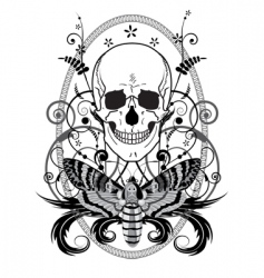 skull and butterfly vector image