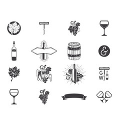 wine production icons set winery wine shop vector image