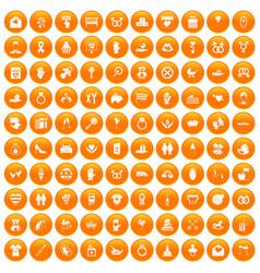 100 love icons set orange vector