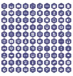 100 website icons hexagon purple vector image
