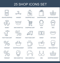 25 shop icons vector image