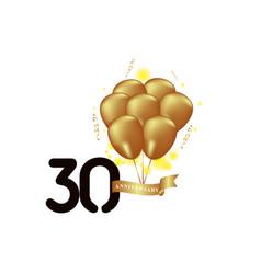 30 year anniversary black gold balloon template vector