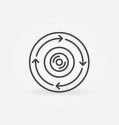 360-degree camera in circle with arrows vector
