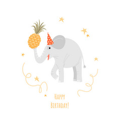 a birthday greeting card with a funny elephant vector image