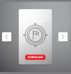 aim business deadline flag focus line icon in vector image
