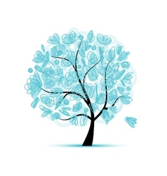 Art floral tree blue for your design vector image vector image