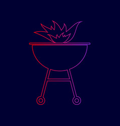 barbecue with fire sign line icon with vector image