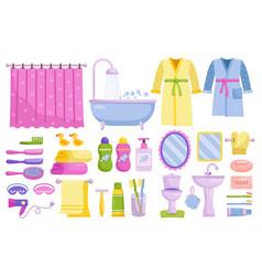 bathroom accessories set isolated home bathroom vector image