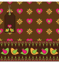 Bird floral wrapping vector