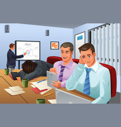 Boring business meeting vector