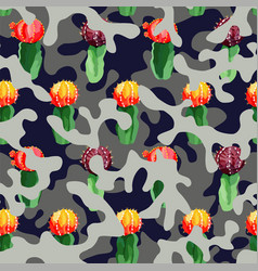 Cactus on camo background in blue gray color vector