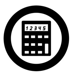 calculator icon black color in circle or round vector image