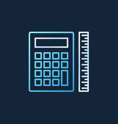 calculator with ruler colored outline vector image