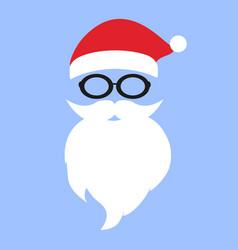 cap and mustache with a beard santa claus vector image