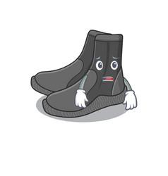 Cartoon image design dive booties showing worried vector