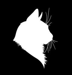 Cat head silhouette in vector