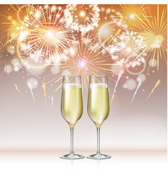 Champagne glasses on holiday firework backgound vector