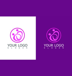 circle people care logo vector image