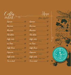 coffee shop menu with price list and pictures vector image