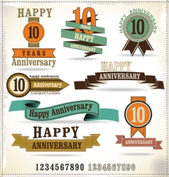 Collection of vintage anniversary labels vector