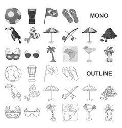 Country brazil monochrom icons in set collection vector
