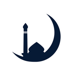 Crescent moon mosque design vector