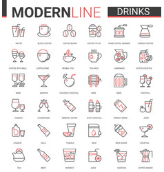 Drink flat thin red black line icons vector