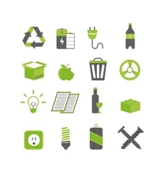 Ecology waste sorting and recycle icons vector