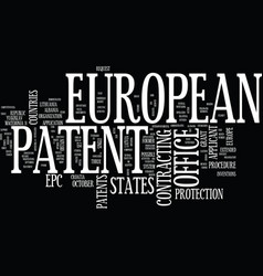 European patent office text background word cloud vector