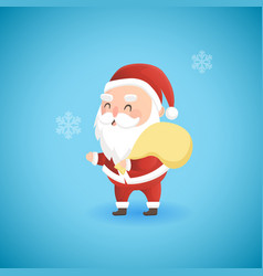 festive christmas funny santa claus holding big vector image