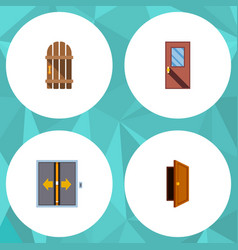 flat icon door set of lobby entry door and other vector image