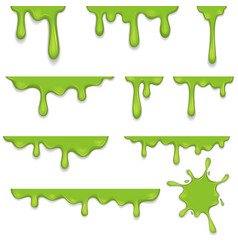 Flowing green sticky liquid paint set vector
