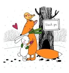 Fox rabbit bird and tree Winter vector image