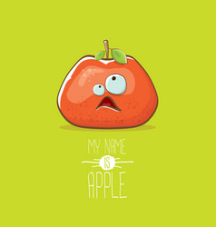 funny cartoon cute red apple character isolated on vector image