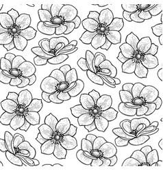 Graphic anemones pattern vector