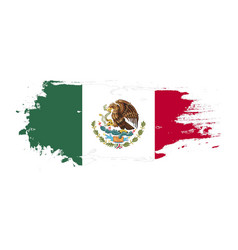 Grunge brush stroke with mexico national flag vector
