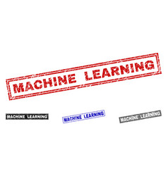 Grunge machine learning textured rectangle stamp vector
