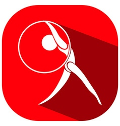Gymnastics logo on red background vector