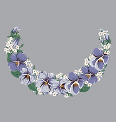 Half-round floral frame wreath with viola flowers vector