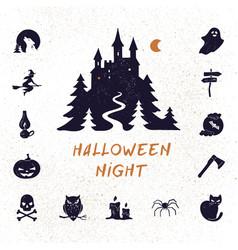 Halloween night set modern simple retro vector