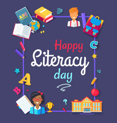 Happy literacy day images vector
