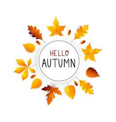 hello autumn autumn hand drawn lettering vector image